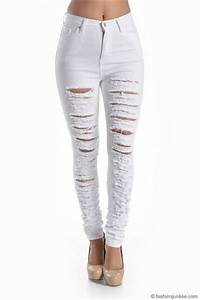 Stretch High Waisted Ripped Distressed Destroyed Skinny ...