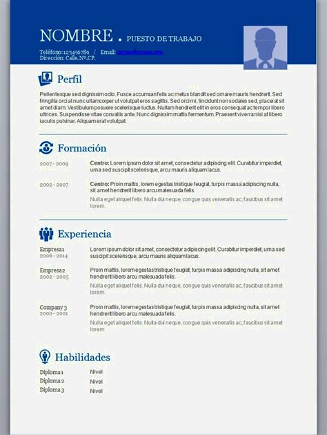 De Cv by Descarga De Curriculum Vitae Para Llenar Resume Template