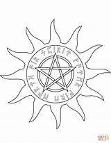 Coloring Pentagram Wiccan Pages Elements Five Dot Supercoloring Drawing Printable Paper Main sketch template