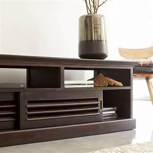 Meuble Tv Bois Foncé : meuble tv en acajou meubles hi fi modele coline sur tikamoon ~ Teatrodelosmanantiales.com Idées de Décoration
