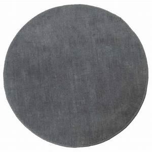 Tapis rond tufte coloris gris 150 cm de diametre for Tapis gris rond