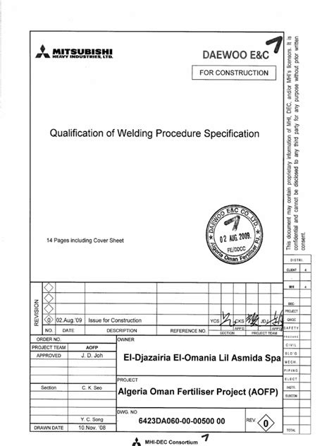 Qualification of Welding Procedure Specification Fc