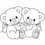 Teddy Bear Coloring Heart Colorluna Credit Larger sketch template