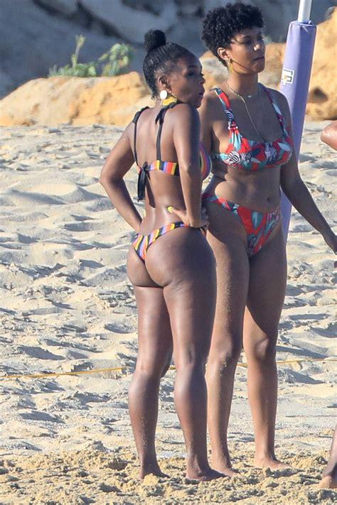 janelle monae   striped bikini   beach  cabo san