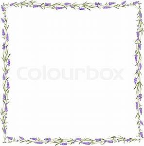 The Lavender frame line Bunch of lavender flowers on a
