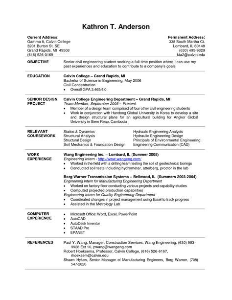 current college student resume planner template