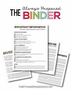 the always prepared binder With family documents binder