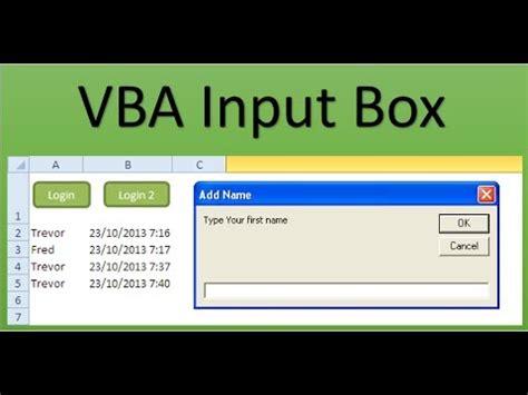 vba  beginners vba input box youtube