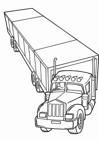 Coloring Truck Trailer Semi Netart
