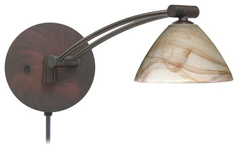 Mocha Glass Bronze Plug-in Swing Arm Wall Lamp
