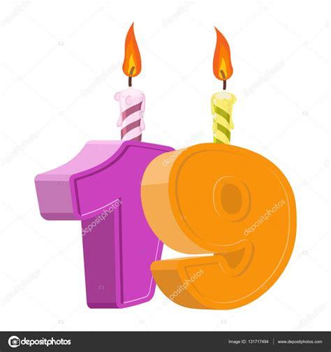 Cumpleaños De 19 Años Número Con Fiesta Vela Para Pastel