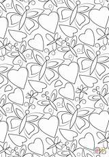 Coloring Pages Pattern Hearts Butterflies Printable Games Paper sketch template
