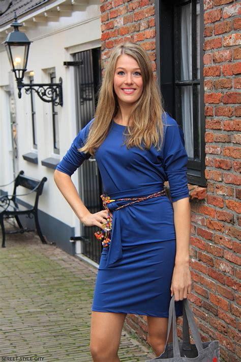 street style blue dress