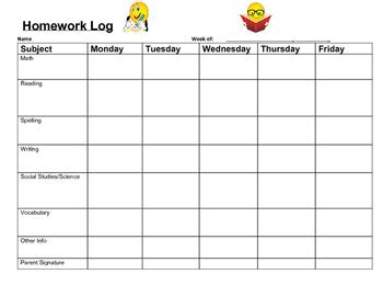 weekly homework chart  dianne ceneri teachers pay teachers