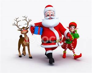 Santa Claus With Elves And Reindeer Stock Photos