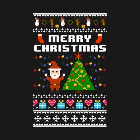 best pixel merry christmas merry 8 bit pixel retro gaming t shirt teepublic
