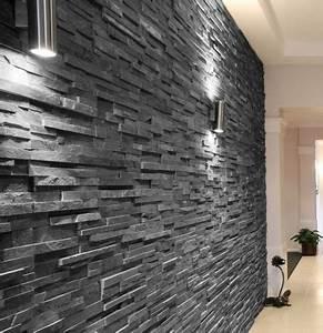 Slate Black Split Face 15x60 wall tile An interlocking