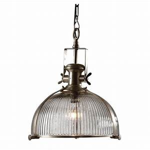 Industrial ribbed glass pendant