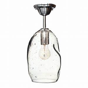 Handmade quot bubble seeded hand blown glass pendant light