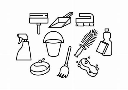 Cleaning Tools Line Vector Icon Clipart Vectors