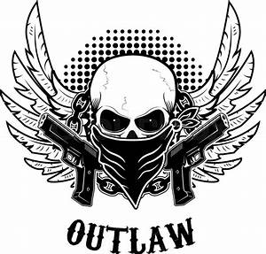 Outlaw t-shirt print design template. Skull with two guns ...