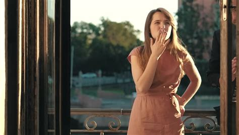 young woman smoking  cigarette stock footage video