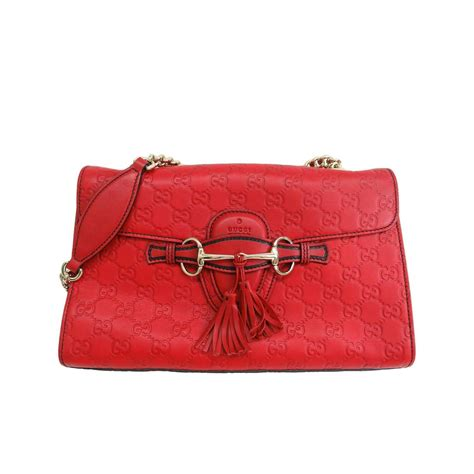 gucci monogram gg flap red leather gold chain crossbody