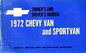 1972 Chevrolet Van Owners Manual User Guide Reference