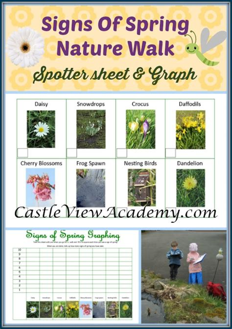 signs of nature walk free printables castle view 144 | Signs of Spring Nature Walk spotter sheet and graphing page provide lots of learning fun for children