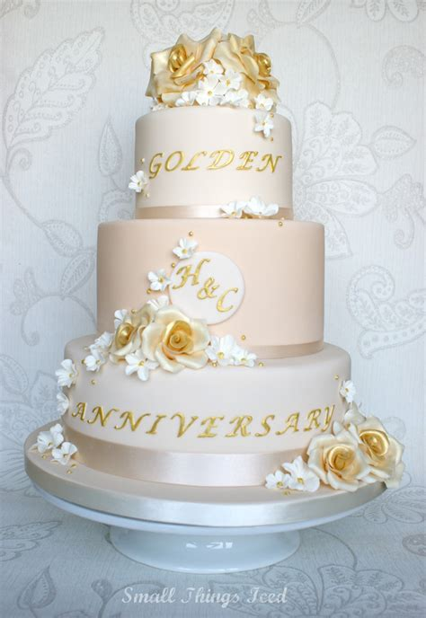 small  iced golden wedding anniversary cake