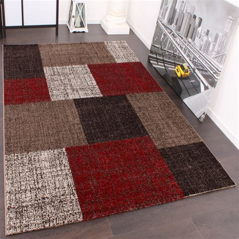 teppich center designer teppich muster karo creme rot braun meliert wohn