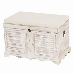 Coffre De Rangement Blanc : vintage holztruhe coffre de rangement de bench shabby regard 50x7lot de 645cm vintage blanc ~ Nature-et-papiers.com Idées de Décoration
