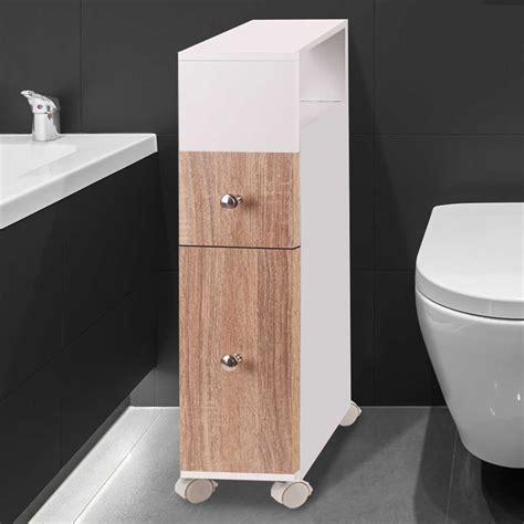 Un meuble parfait pour les wc ou la salle de bains. Meuble rangement WC sur roulettes 2 tiroirs hêtre Meubles et aména...
