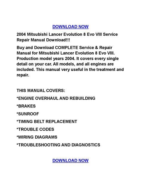 auto repair manual free download 2004 mitsubishi lancer evolution security system 2004 mitsubishi lancer evolution 8 evo viii service repair manual download by tylerrk issuu