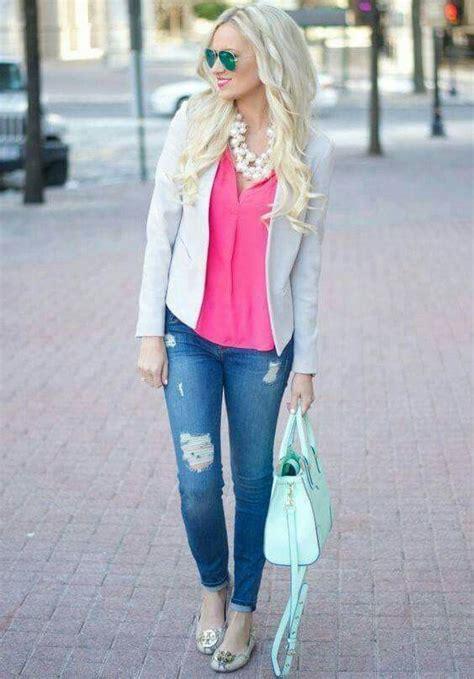 Para salir. Bonita y cu00f3moda Jeans  blusa rosa mexicano blazer y balerina   ROPA   Pinterest ...