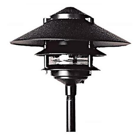 ls plus landscape lighting three tiered black outdoor landscape pagoda light 62159