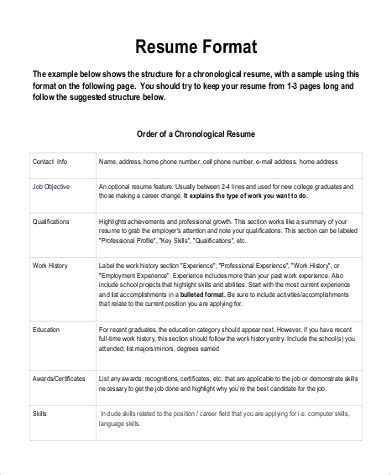 format  resume sample  examples  word
