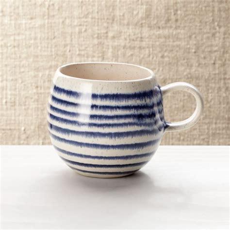 Lina Blue Stripe Coffee Mug   Crate and Barrel