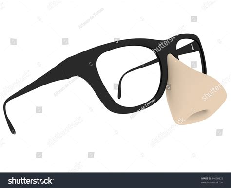 Fake Glasses Big Nose Isolated Over Stock Illustration