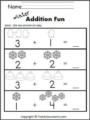 winter addition worksheet  learning  add