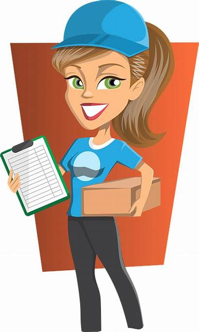 Clipart Engineer Lady Parcel Delivery Transparent