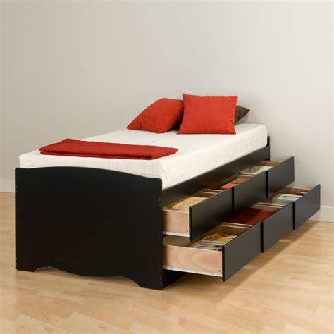 Storage Bed No Headboard by Prepac Manufacturing Ltd Black Captain S