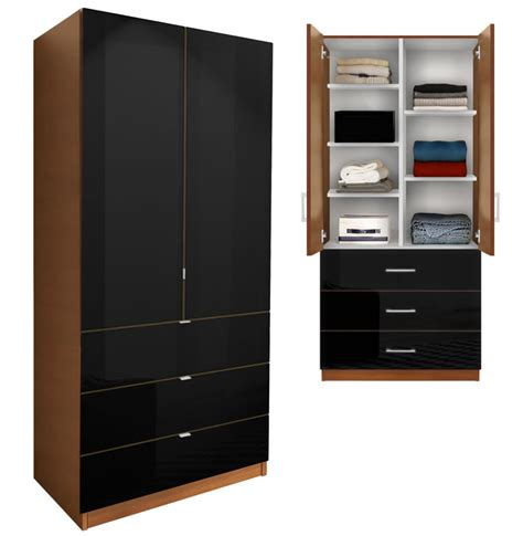 Black Wardrobe With Shelves by Alta Wardrobe Armoire Adjustable Shelves 3 Drawers
