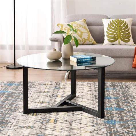 This round tempered glass table top will work amazingly with office, lobby or kitchen tables, ensuring the extremely high quality of the piece. Harper & Bright Designs Espresso Round Tempered Glass Top Coffee Table-WF190112AAB - The Home Depot