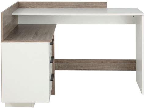 bureau thales bureau d 39 angle thales coloris blanc et chêne foncé vente