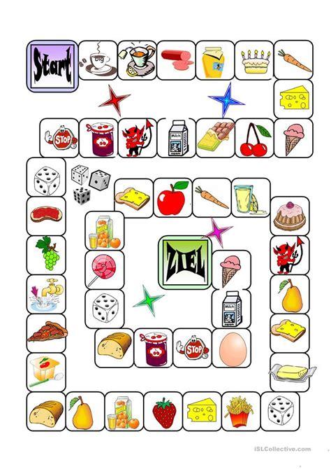 englisch für kindern kostenlos gesellschaftspiel lebensmittel arbeitsblatt kostenlose
