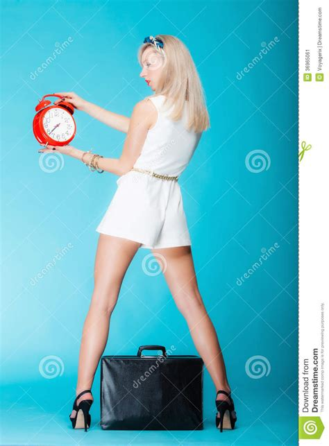 Woman With Suitcase Red Clock Travel Time Management