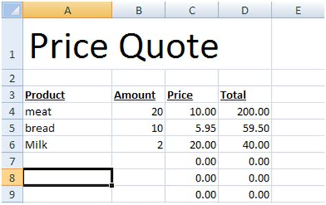 price quote template how to create price quotes in microsoft excel