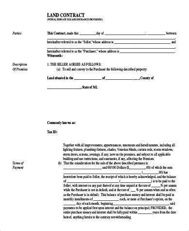 sample land contract form  examples  word