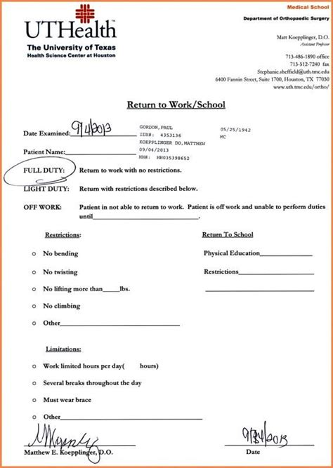 dr note  work doctors note template doctors note dr